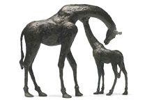 Giraffe & Impala Bronze Sculptures