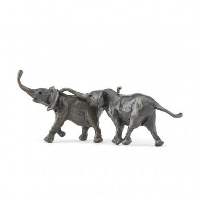 Bronze Elephant Sculpture: Follow Me II