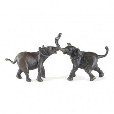 Bronze Elephant Sculpture: Tug Of War II