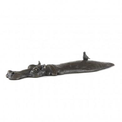 Bronze Hippo Sculpture: Wallowing Hippopotamus