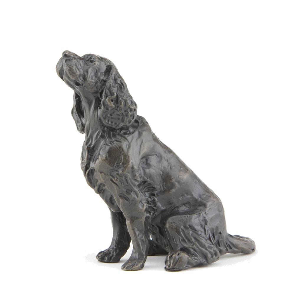 Bronze Dog Sculpture Sitting Cocker Spaniel By Sue Maclaurin