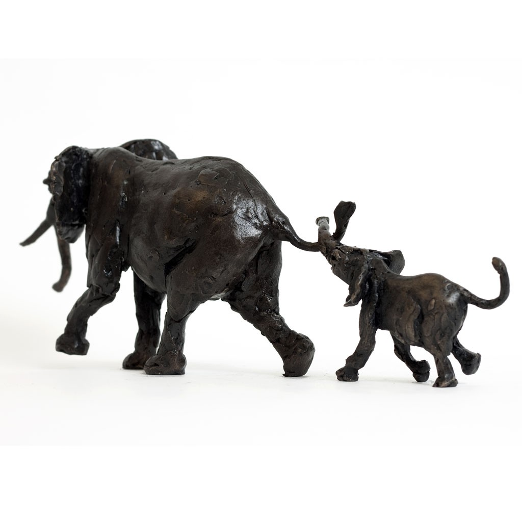 Bronze Elephant Sculpture: Elephant Mother and Baby by