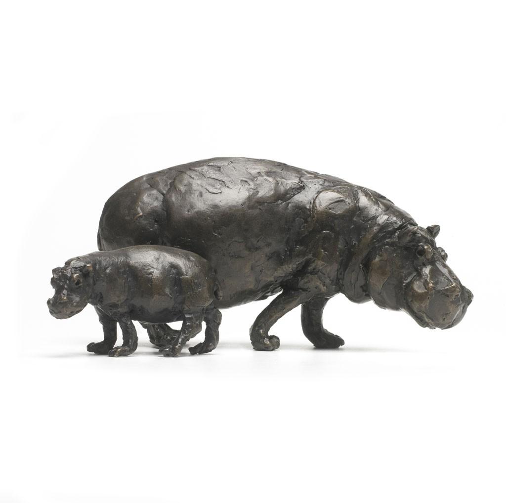 Bronze Hippopotamus Sculpture: Hippopotamus Mother and Baby by Jonathan  Sanders