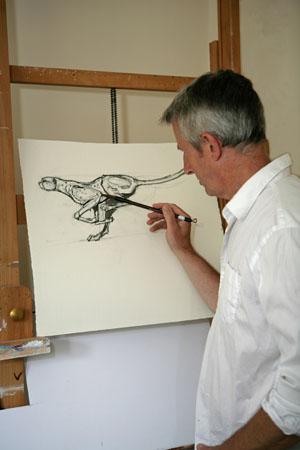 Jonathan Sanders Painting In His Studio